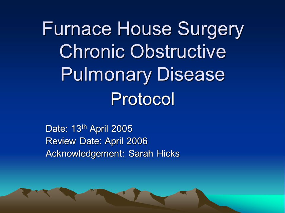 Furnace House Surgery Chronic Obstructive Pulmonary Disease