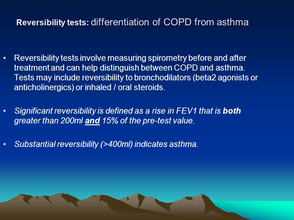 Reversibility tests: differentiation of COPD from asthma