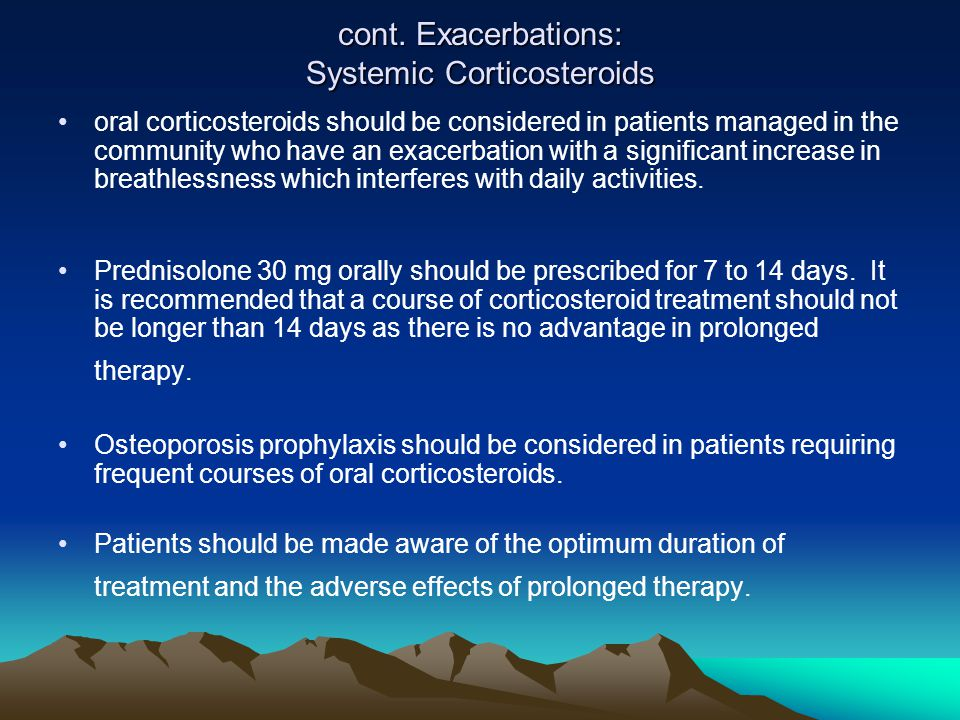 cont. Exacerbations: Systemic Corticosteroids