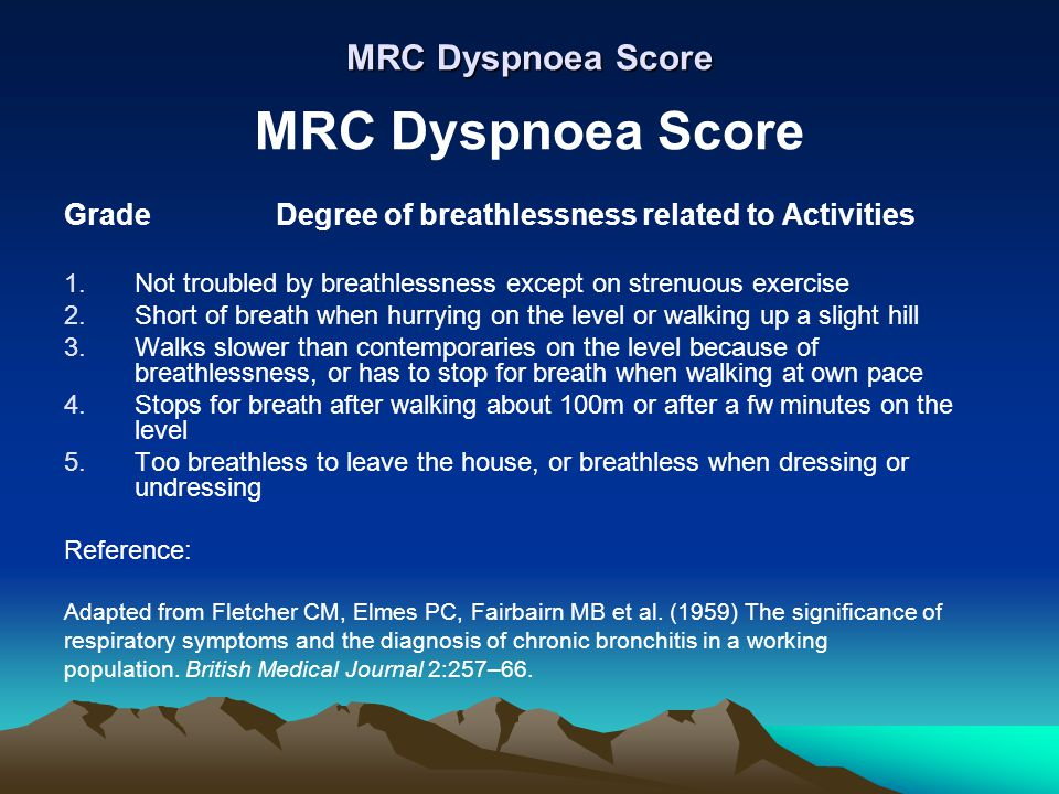 MRC Dyspnoea Score MRC Dyspnoea Score