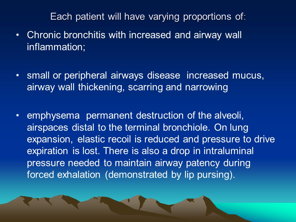 Each patient will have varying proportions of: