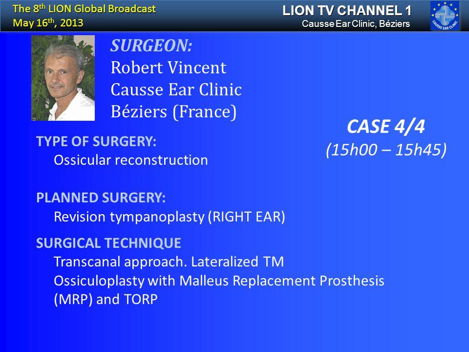 CASE 4/4 SURGEON: Robert Vincent Causse Ear Clinic Béziers (France)