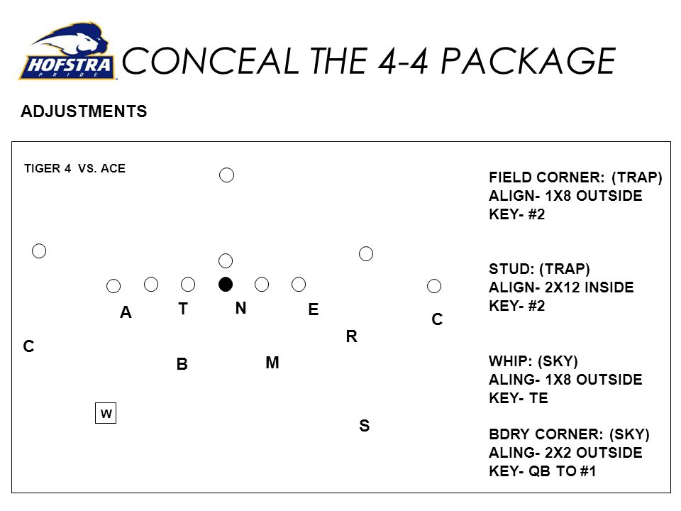 CONCEAL THE 4-4 PACKAGE ADJUSTMENTS T N E A R C B M S