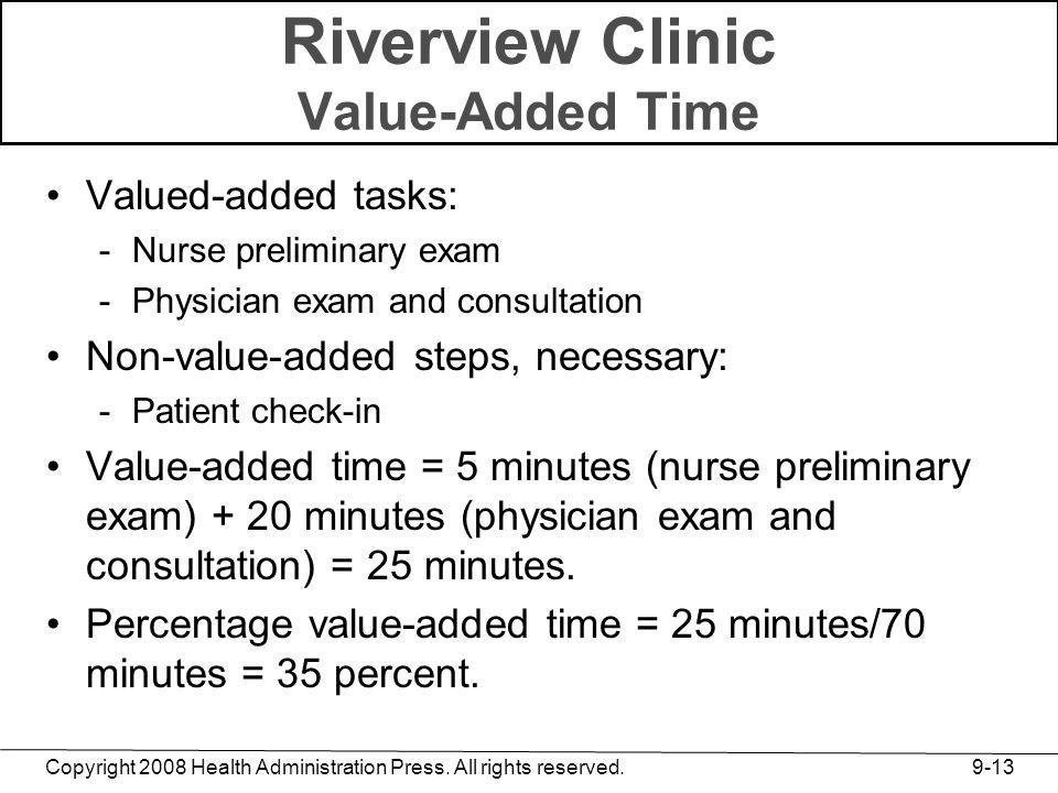Riverview Clinic Value-Added Time
