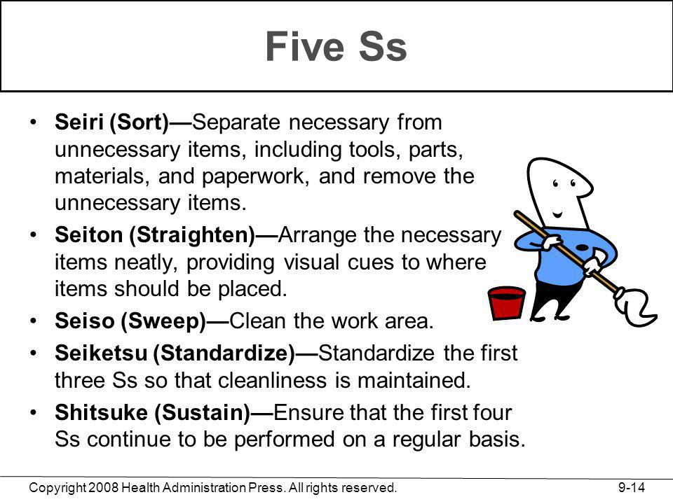 Five Ss Seiri (Sort)—Separate necessary from unnecessary items, including tools, parts, materials, and paperwork, and remove the unnecessary items.