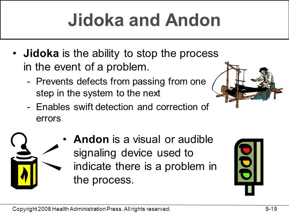 Jidoka and Andon Jidoka is the ability to stop the process in the event of a problem.
