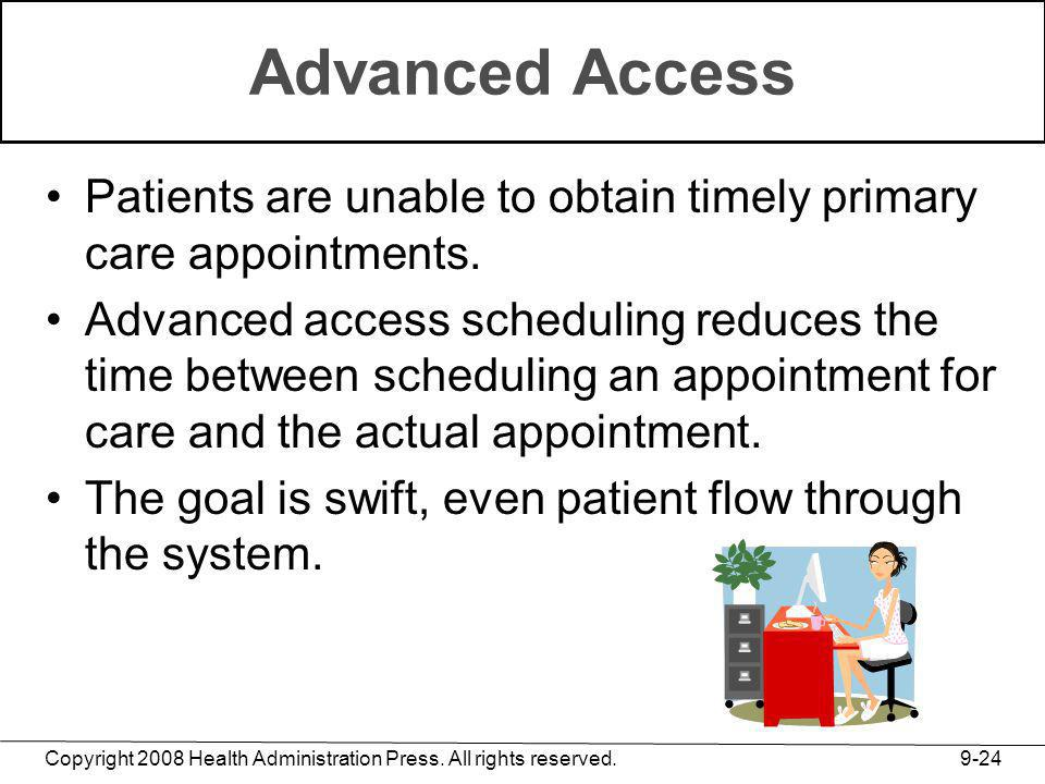 Advanced Access Patients are unable to obtain timely primary care appointments.