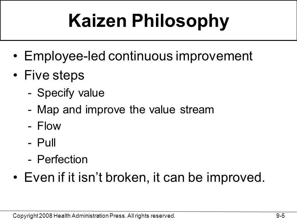 Kaizen Philosophy Employee-led continuous improvement Five steps