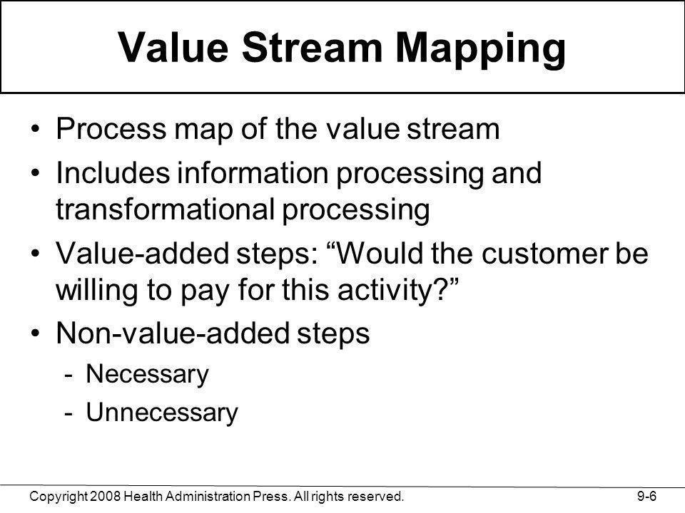 Value Stream Mapping Process map of the value stream