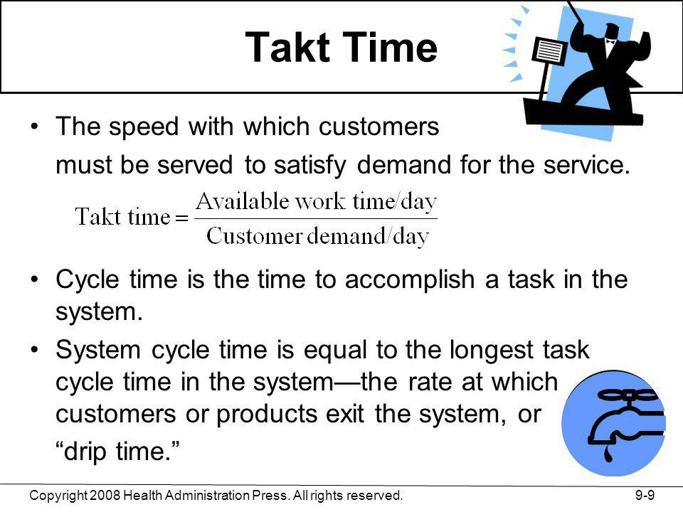 Takt Time The speed with which customers