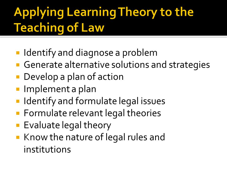 Applying Learning Theory to the Teaching of Law