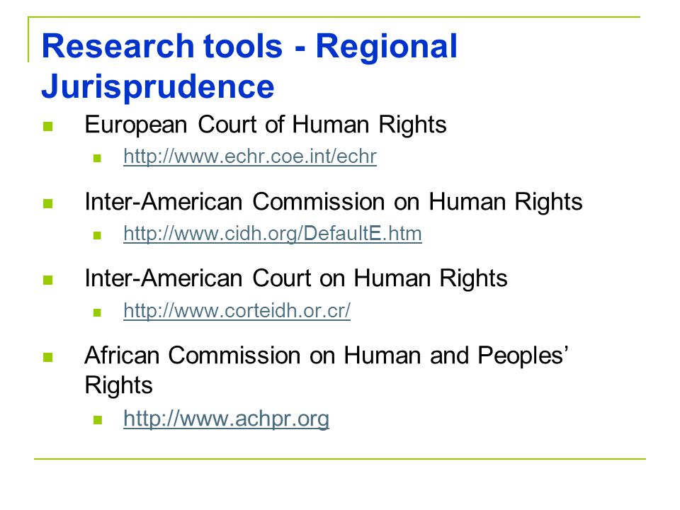 Research tools - Regional Jurisprudence