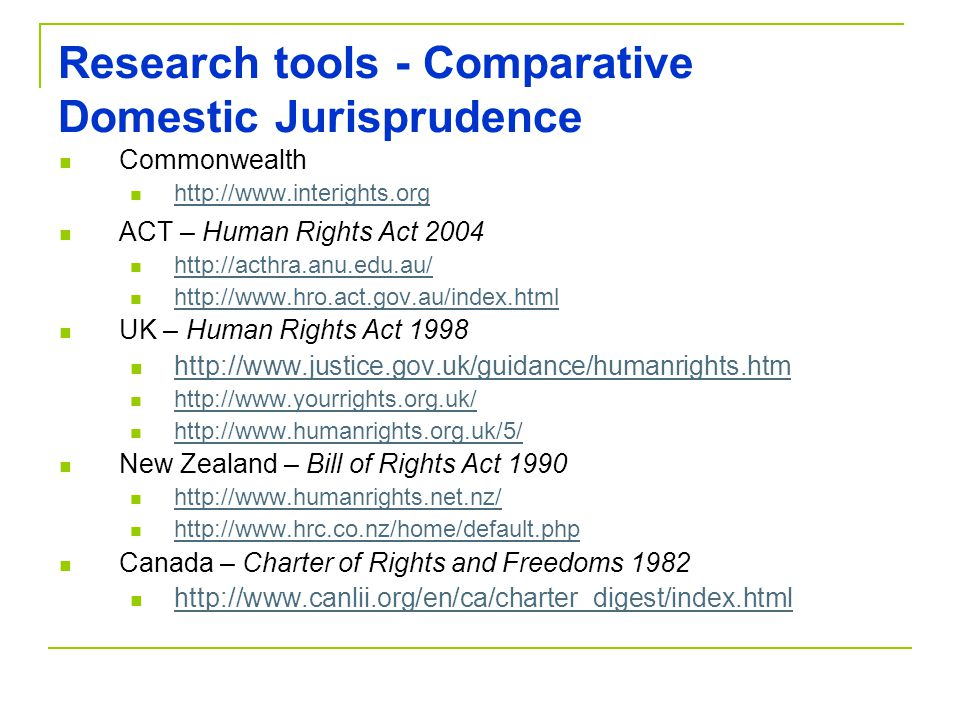 Research tools - Comparative Domestic Jurisprudence