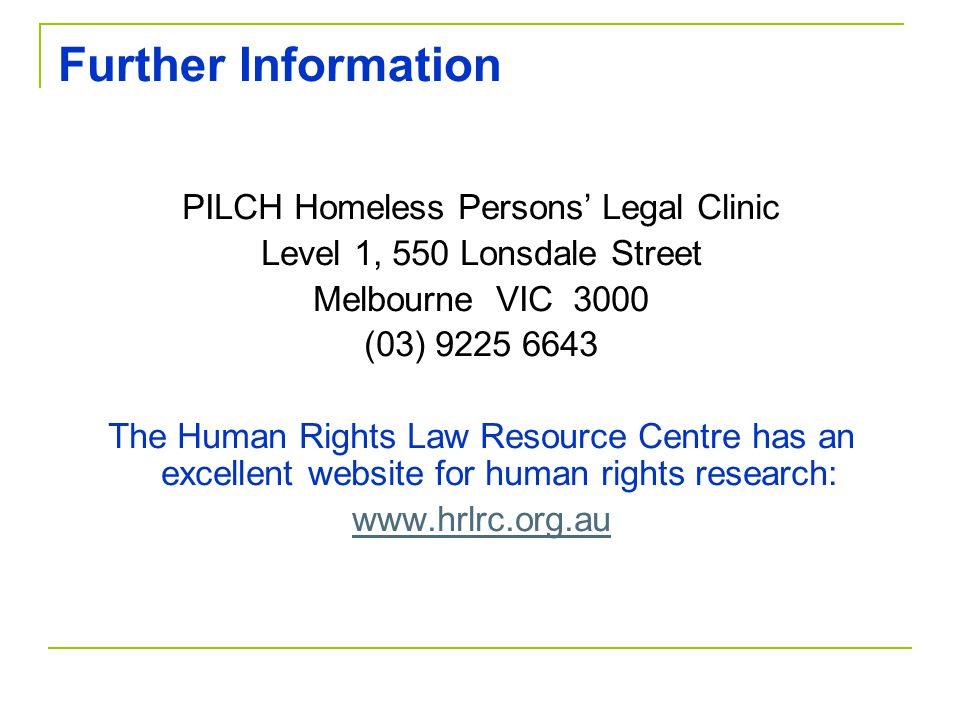 PILCH Homeless Persons' Legal Clinic
