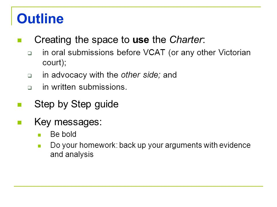 Outline Creating the space to use the Charter: Step by Step guide