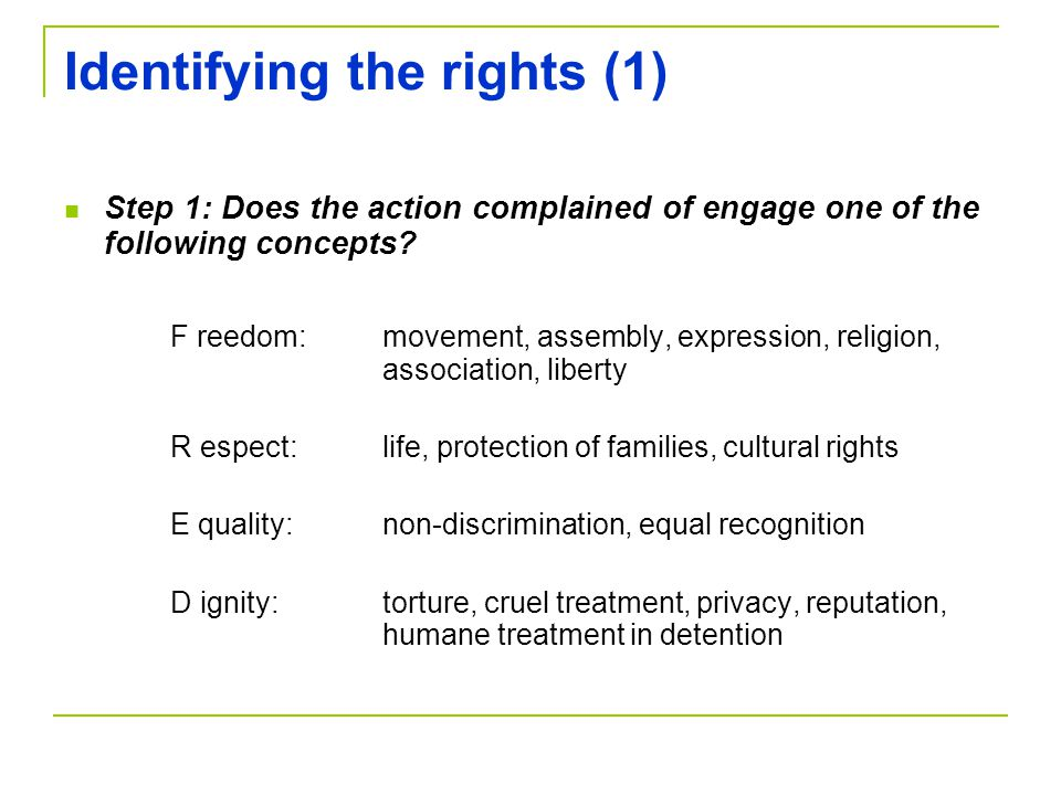 Identifying the rights (1)