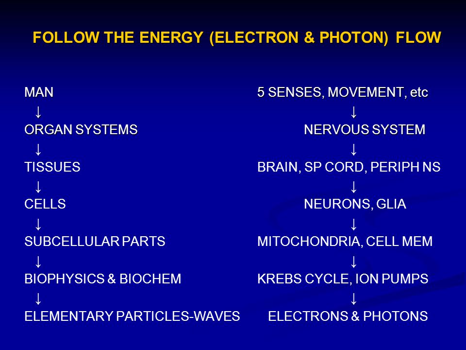 FOLLOW THE ENERGY (ELECTRON & PHOTON) FLOW