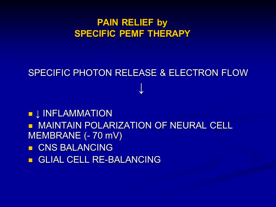 PAIN RELIEF by SPECIFIC PEMF THERAPY
