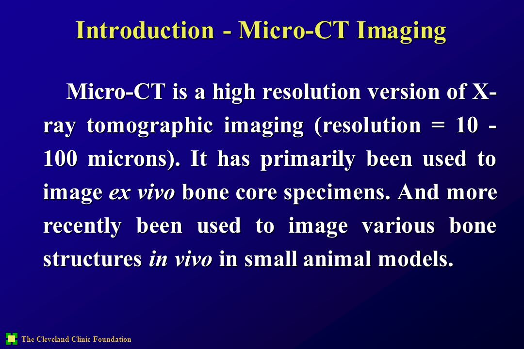 Introduction - Micro-CT Imaging