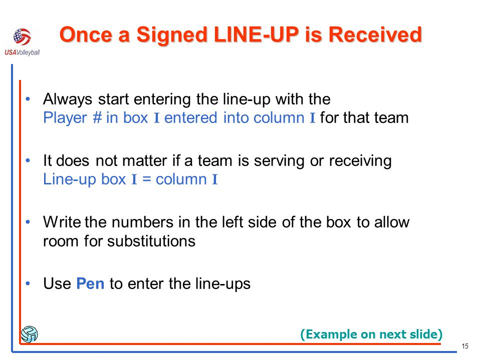 Once a Signed LINE-UP is Received