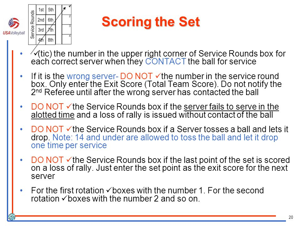Scoring the Set ü(tic) the number in the upper right corner of Service Rounds box for each correct server when they CONTACT the ball for service.