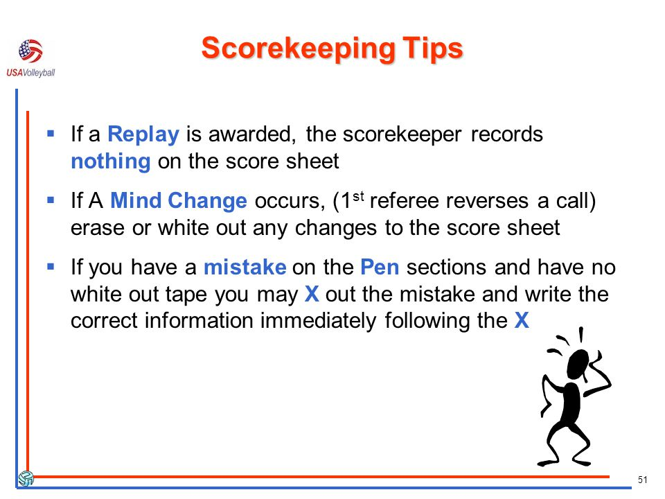 Scorekeeping Tips If a Replay is awarded, the scorekeeper records nothing on the score sheet.
