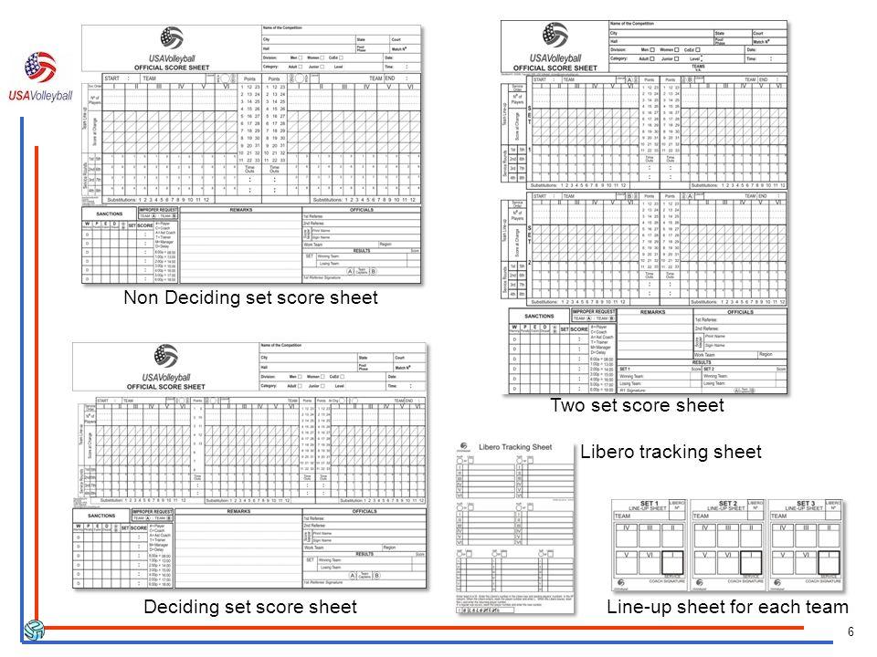 Non Deciding set score sheet