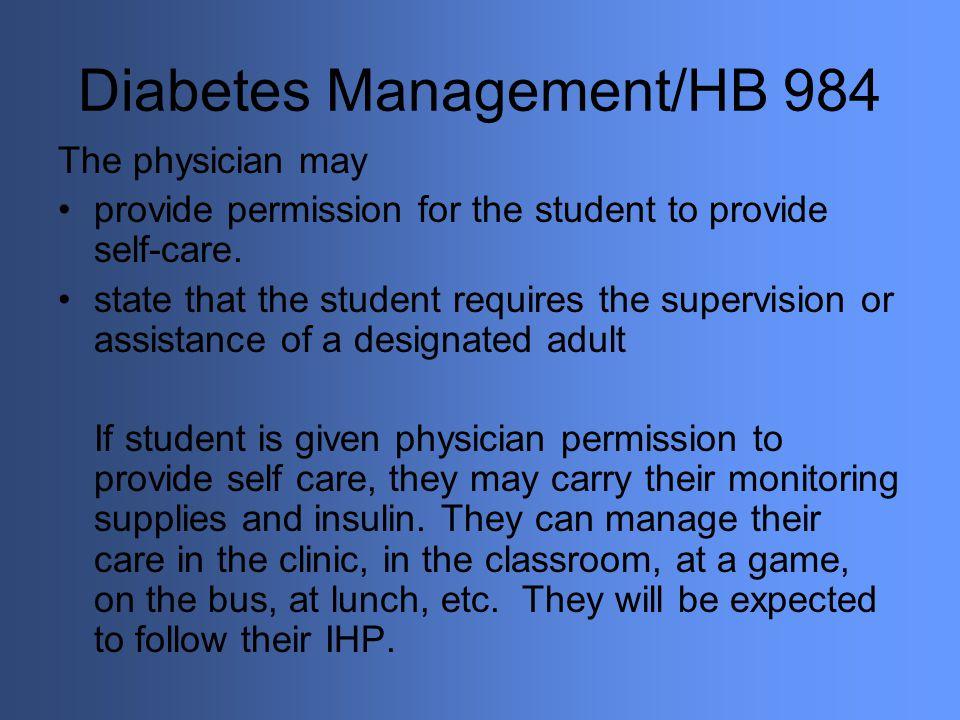 Diabetes Management/HB 984
