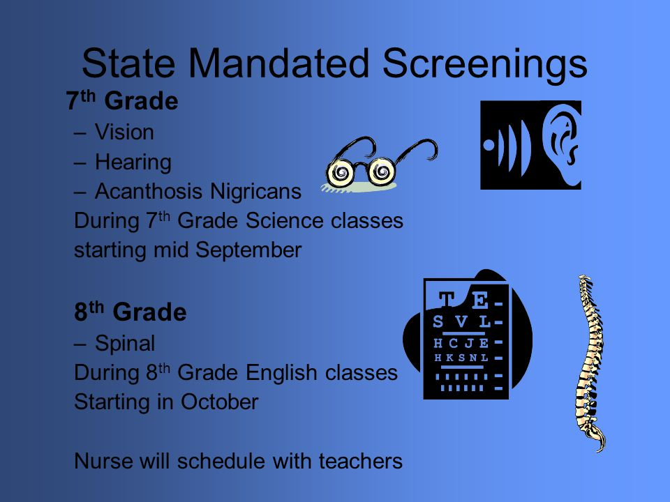 State Mandated Screenings