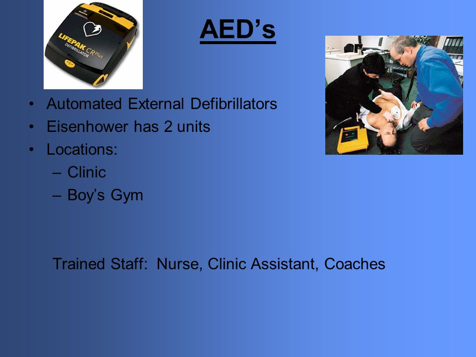 AED's Automated External Defibrillators Eisenhower has 2 units