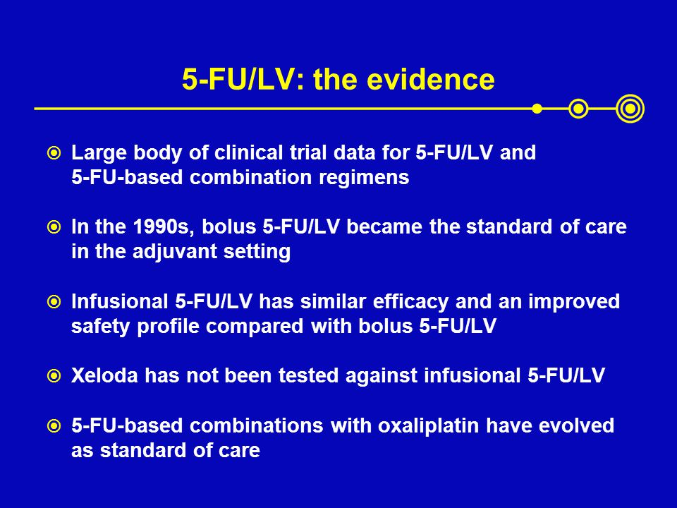 5-FU/LV: the evidence Large body of clinical trial data for 5-FU/LV and 5-FU-based combination regimens.