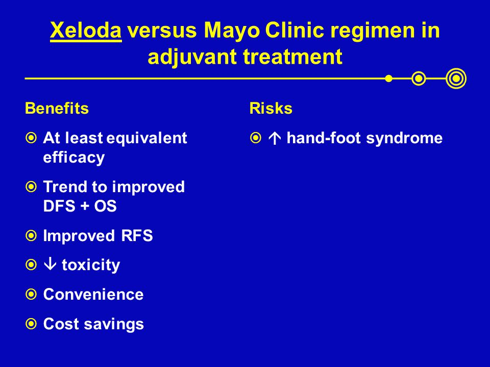 Xeloda versus Mayo Clinic regimen in adjuvant treatment