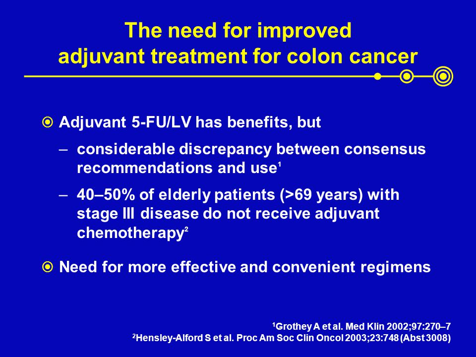 The need for improved adjuvant treatment for colon cancer