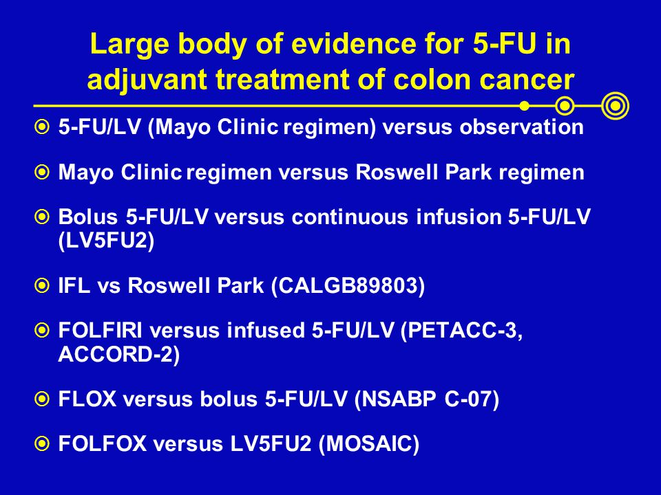 Large body of evidence for 5-FU in adjuvant treatment of colon cancer