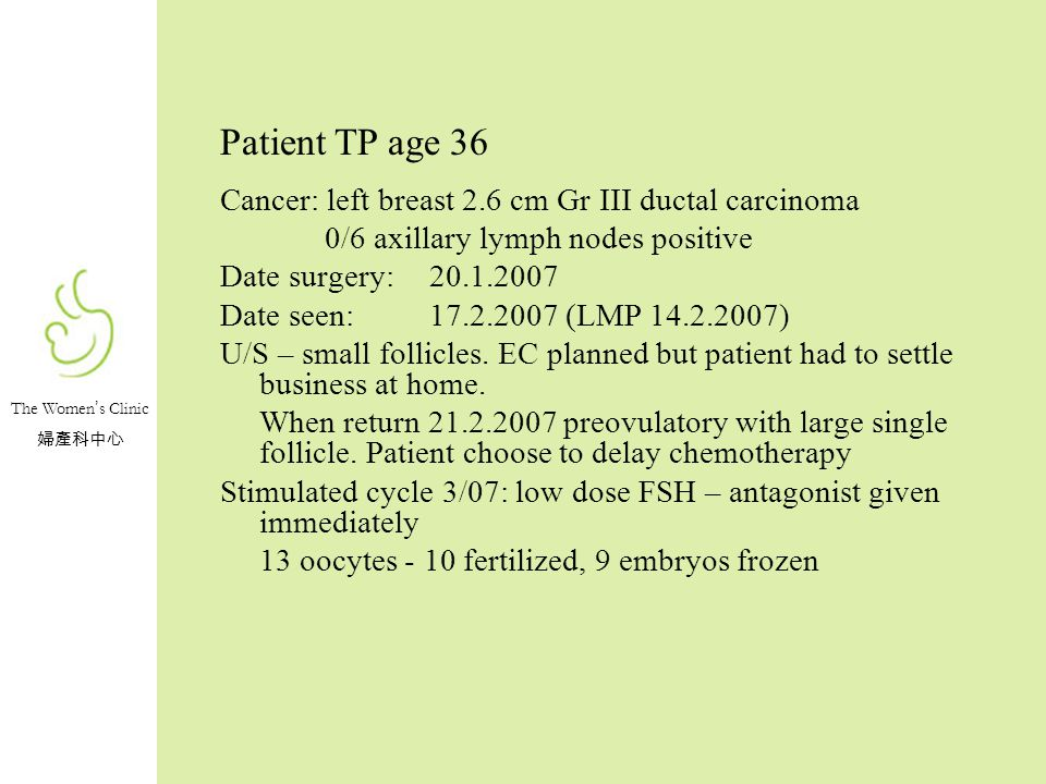 Patient TP age 36 Cancer: left breast 2.6 cm Gr III ductal carcinoma