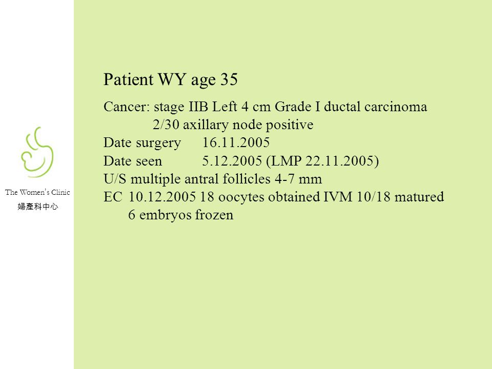 Patient WY age 35 Cancer: stage IIB Left 4 cm Grade I ductal carcinoma