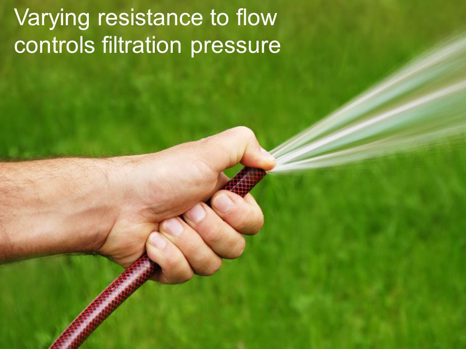 Varying resistance to flow controls filtration pressure