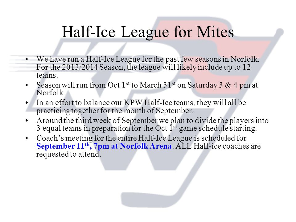 Half-Ice League for Mites