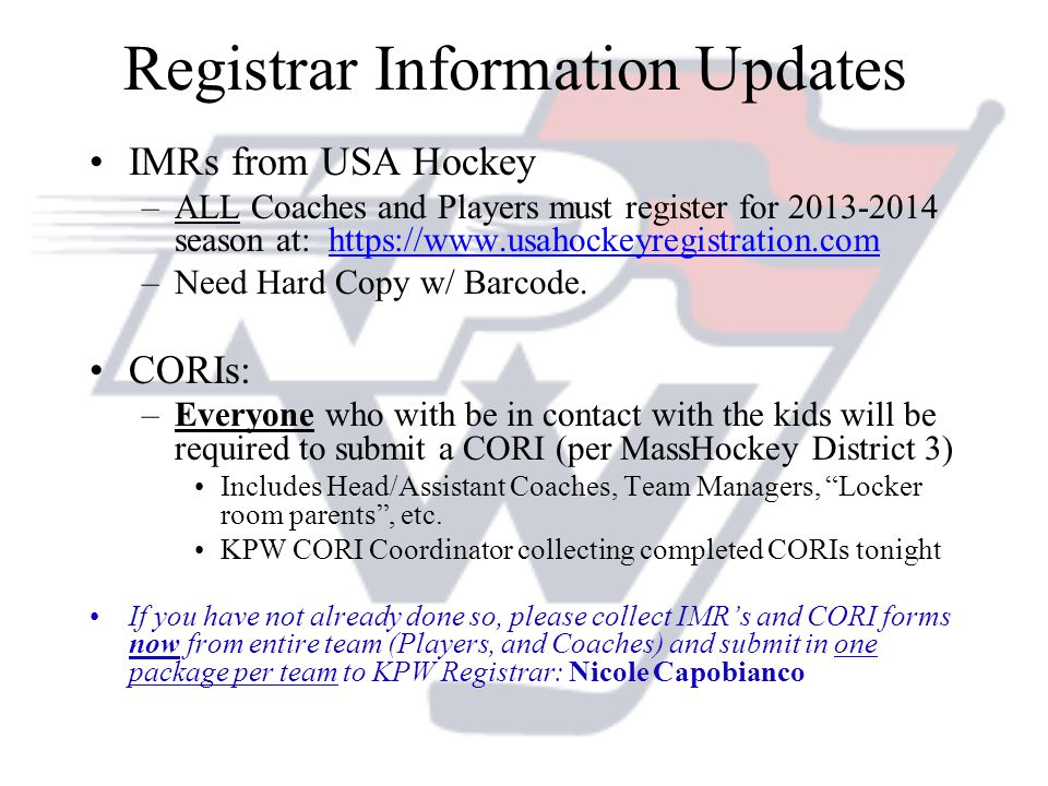 Registrar Information Updates