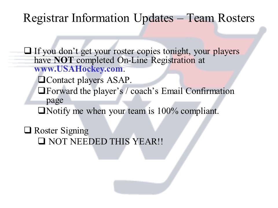 Registrar Information Updates – Team Rosters