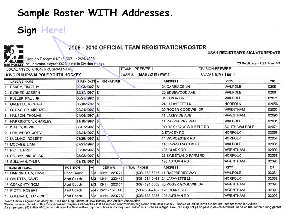 Sample Roster WITH Addresses.