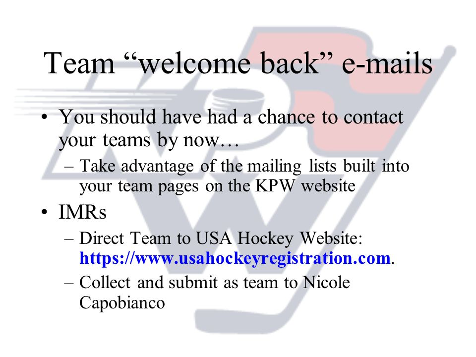 Team welcome back e-mails