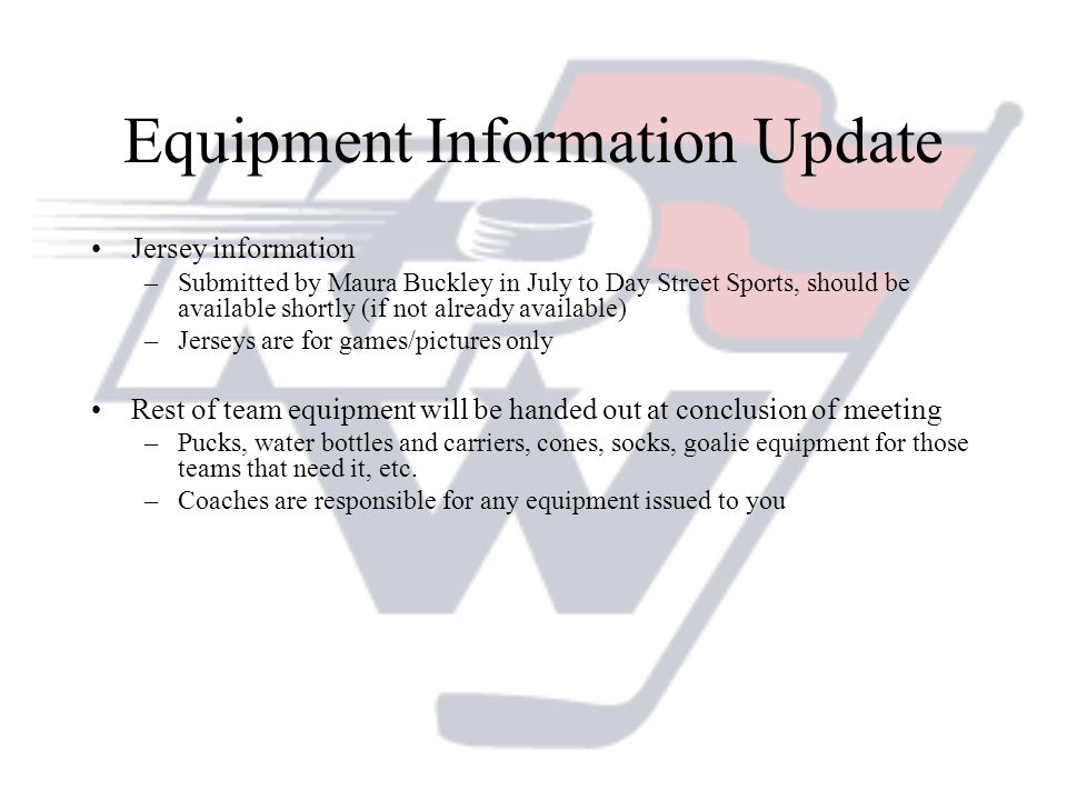 Equipment Information Update
