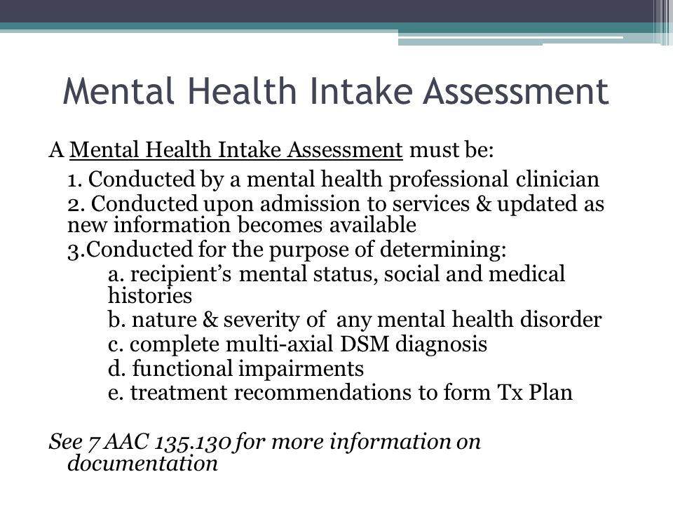 Mental Health Intake Assessment