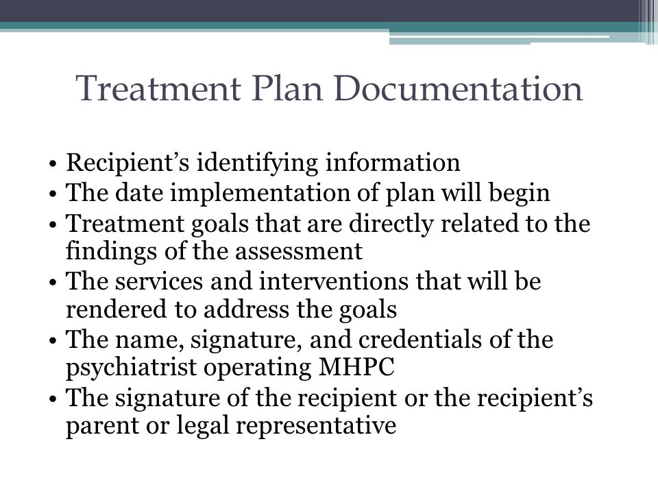Treatment Plan Documentation