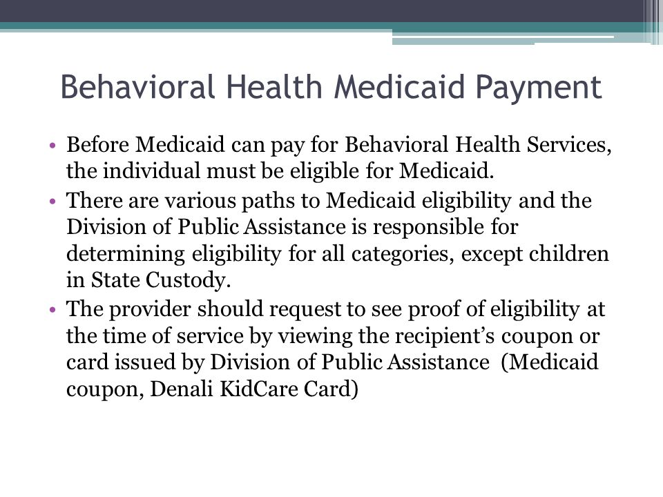 Behavioral Health Medicaid Payment