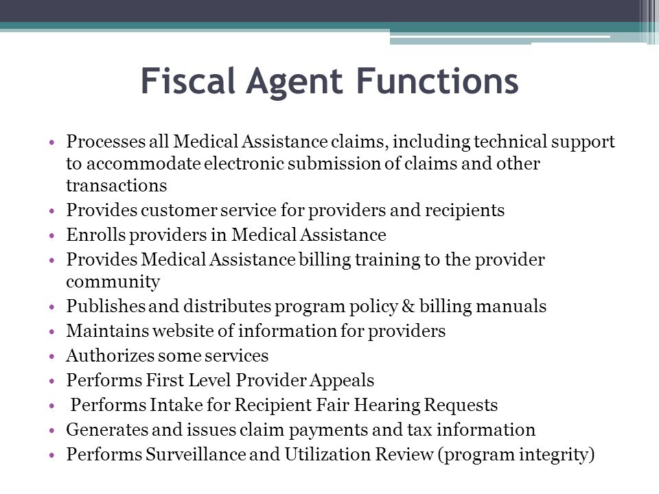Fiscal Agent Functions