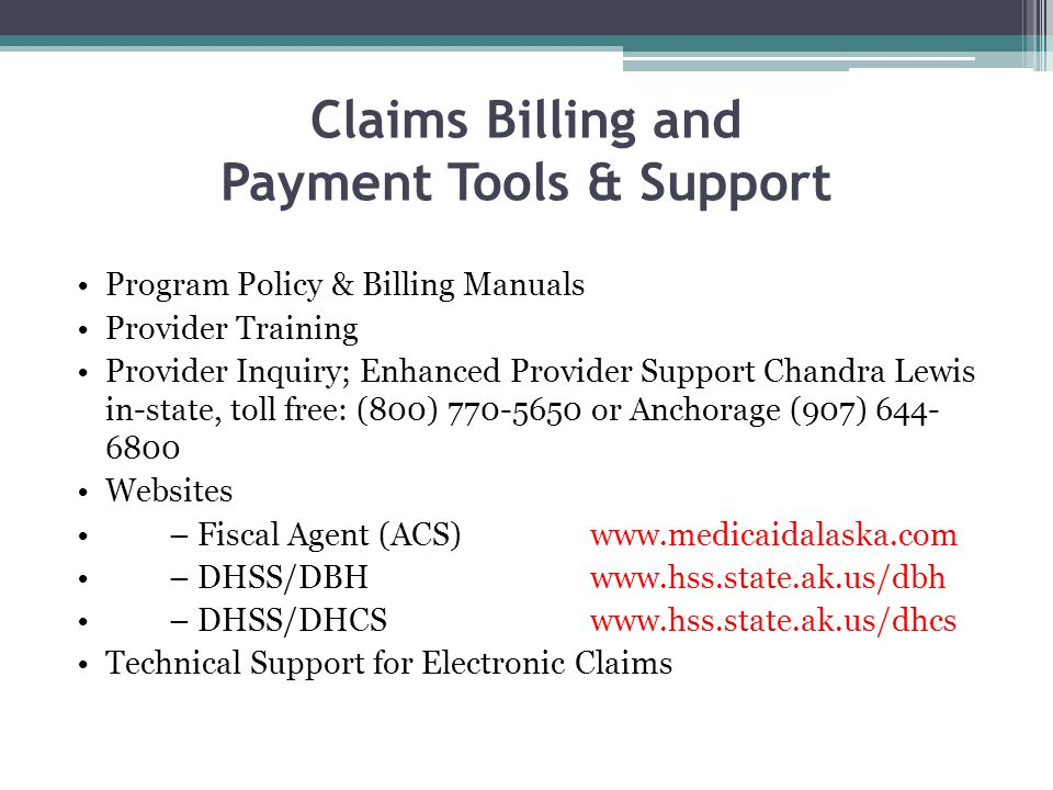 Claims Billing and Payment Tools & Support