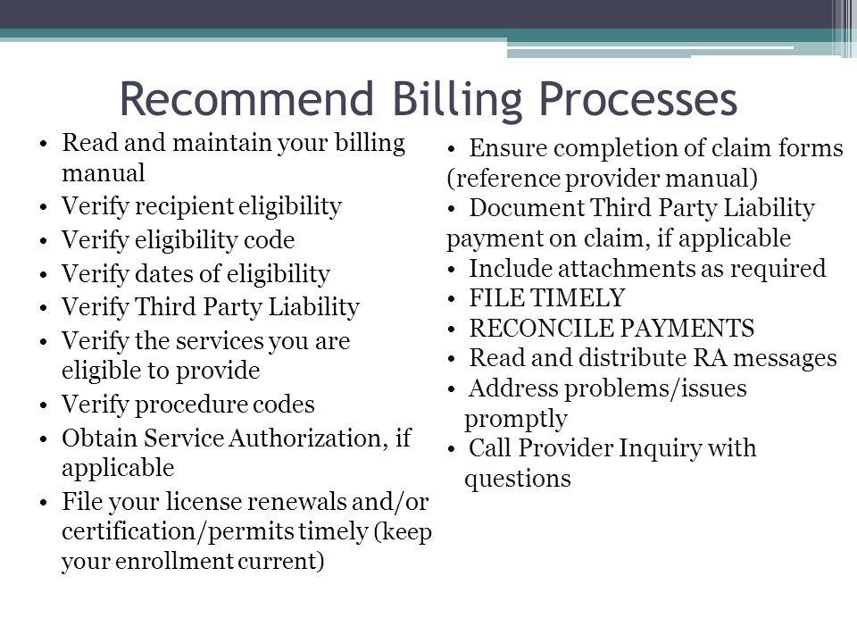 Recommend Billing Processes