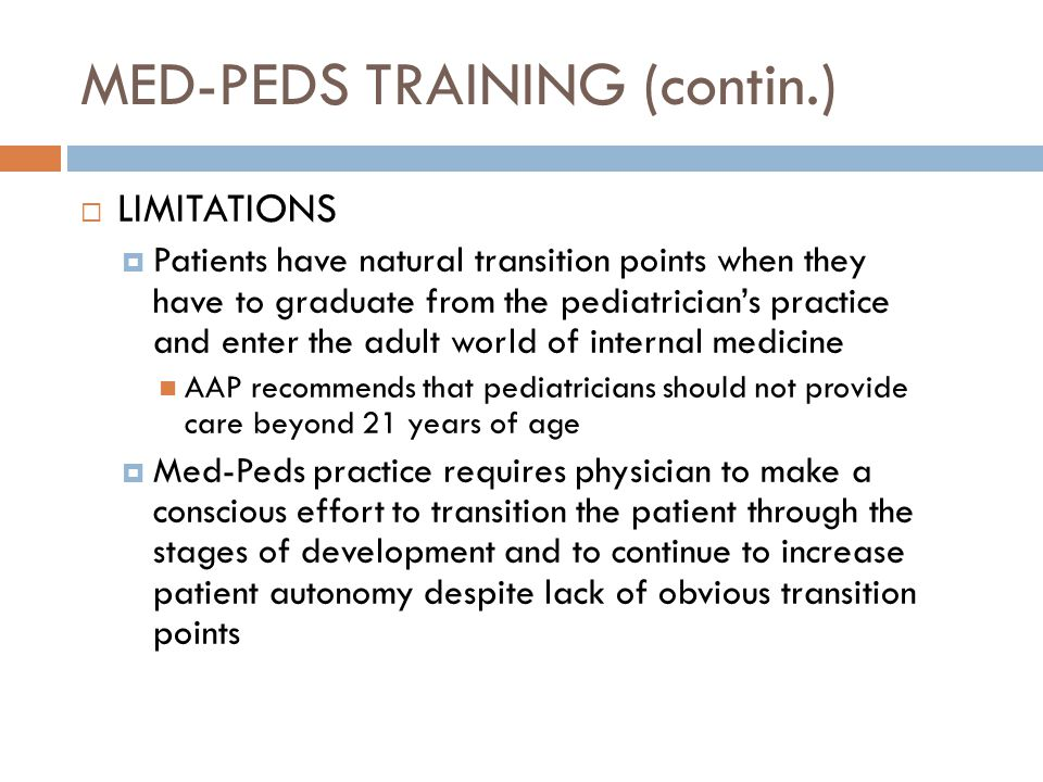 MED-PEDS TRAINING (contin.)